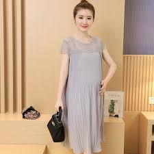 8097 Pleated Chiffon Maternity Long Dress 2017 Summer Korean Fashion Clothes For Pregnant Women Slim