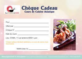 carte cadeau cours de cuisine chèques cadeaux