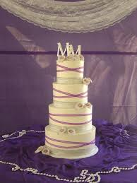 4 Tier Round Wedding Cake With Purple And Silver Ribbon