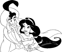 Printable Coloring Pages Of Aladdin And Jasmine Together