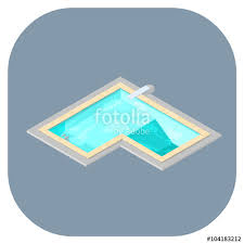 Isometric Vector Illustration Of A Swimming Pool With Diving Board And