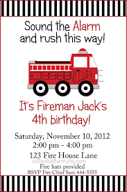 Little Red Fire Truck Birthday Party Invitation C-353-A Digital ...