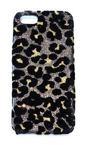 For Iphone SE Iphone 5 5s Leopard Glitter Velvet Bling Sparkly Bling Phone Case Cover