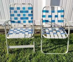Vintage Lawn Chairs Aluminum Blue White Foldable Folding Camp Web Retro  Patio
