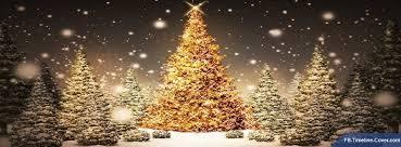 Gold Christmas Tree Falling Snow