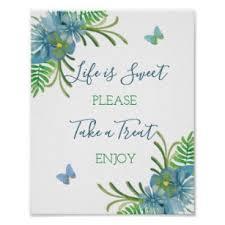 Dessert Bar Sign Blue Wildflowers Poster