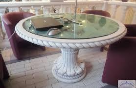 massiver steintisch mit glasplatte gartentisch esszimmer