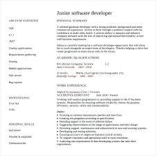 Sample Software Engineer Resume Junior Developer Free Download