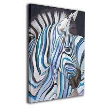 Amazoncom Blue And Black Line Zebra Frameless Decorative Painting
