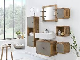 woodkings badmöbel set dingle holz pinie rustikal und betonoptik grau badmöbel hängend für kleines bad mit hochschrank regale waschbeckenunterschrank