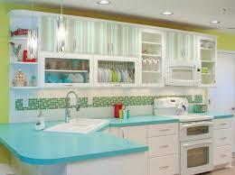 Retro 50s Kitchen Decor With Striped Wooden Cabinet Multi Color Mosaic Backsplash Also