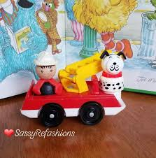 100 Fisher Price Fire Truck Ride On Vintage Little People Man And Lucky