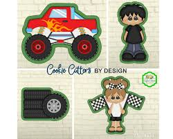 100 Monster Truck Cookie Cutter S Checkered Flag S Etsy