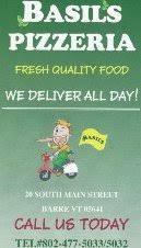 Basil s pizzeria & restaurant Barre VT Menu and Reviews