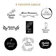 Nine Feminine Logos Vector