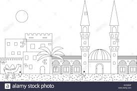 Islamic Outline Cityscape With Mosque And Minaret