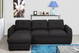 berlin canapé d angle réversible convertible 5 places tissu noir