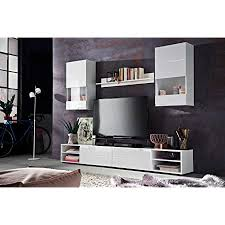 trendteam wohnzimmer anbauwand wohnwand clark 240 x 179 x 40 cm in weiß hochglanz mit viel stauraum