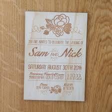 Rustic Wedding Invitation Floral Design Laser Etched Wooden A6 Size
