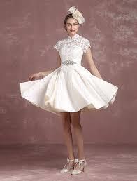 Short Wedding Dress Vintage Lace Bridal Gown Mandarin Collar Satin Backless Sleeve Knee Length Milanoo