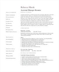 Resume Sample Retail Combined With Assistant Manager Example For Frame Stunning