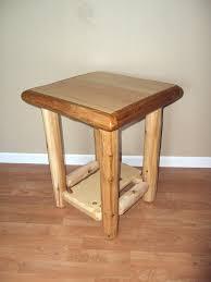 Log End Table Nightstand W Shelf