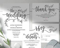 Rustic Wedding Invitation Cards Suite Instant Download PDF Editable Template Kraft Calligraphy Botanic Floral