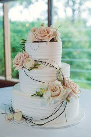 Wedding Cake 3 Tier White Icing Peach And Flowers Vine