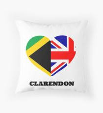 Love Clarendon Jamaican Flag British Union Jack Heart Throw Pillow