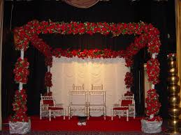 Wedding Stage Decoration With Flowers On Stunning Backdrop And