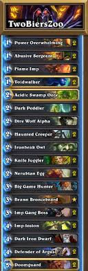 warlock aggro deck 2016 twobiers top15 zoolock with brann hearthstone decks