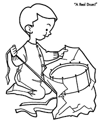 Drummer Boy Open His Christmas Present Colouring Page