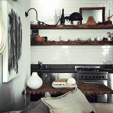 White Subway Tile Wood Shelves Kitchen