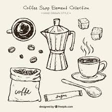 Sketches Of Coffee Maker And Elements For Pack Free Vector