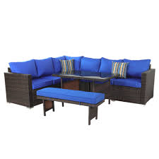 Patio Furniture 5pcs Sofa Set Brown Wicker Royal Blue Cushion [7078 ... Amazoncom Leaptime Patio Fniture Rattan Couch 5piece Deck Sofa Hanover Outdoor Metropolitan Wicker Frame Sunnydaze Decor Port Antonio Gray 4piece Metal Sectional Chaise Lounge Lounges Arrow Up Lyndee Blue White Striped Chair Goodglance And 2 Ding Room Outside Pe Hcom Dark Grey Accent Chairs Comfortable Sunbrella Cushions For Upper Outdoor Pillow Covers Throw Pillows Royal Etsy 5pcs Sofa Set Brown Cushion 7078 Exterior Cozy Wooden Material Lowes Navy Blue Patio Chair Cushion Cushions Navy