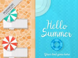 Summer Background With Swimming Pool And Deck Chairs Thumb