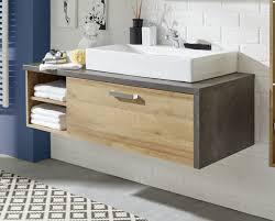 waschbeckenunterschrank bay eiche riviera beton grau 123x39 cm optional mit waschbecken