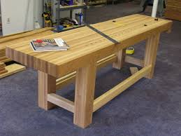 Diy Woodworking Bench Featuring Unfinished Natural Hardwood As Top And 4 Pieces
