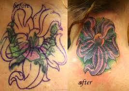Cool Lily Cover Up Tattoo On Girl Back Neck
