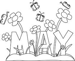 Black and White Month of May Flowers Clip Art Black and White
