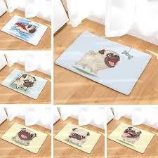boden matte lustige möpse hunde gedruckt wildleder teppich dekoration badezimmer teppich bad matte 50x80cm außen küche wc boden matte