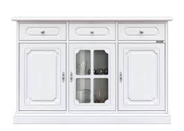 sideboard in weiß holzmöbel 2 türe aus holz 1 tür aus glas 3 schubladen möbel im stil für wohnzimmer flur esszimmer anrichte mit glastür