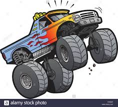 Cartoon Illustration Of A Cool Monster Truck Jumping Or Doing A ...