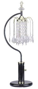 ore international 715bk table l with crystal like shades black