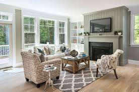 rhodes furniture Living Room Farmhouse with built in cabinets