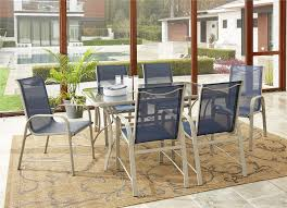 Details About COSCO Outdoor Living 7 Piece Paloma Patio Dining Set, Navy  Sling Chair, Sand