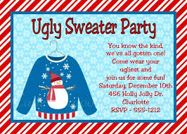 Ugly Sweater Christmas Party Invitations Invitation Wording Tacky Templates