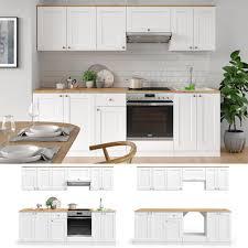 vicco küchenzeile cambridge 240cm landhaus stil einbauküche komplettküche küche weiß inkl herdumbauschrank