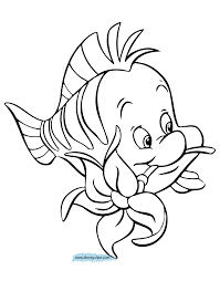Flounder Coloring Pages The Little Mermaid Disney Book Online
