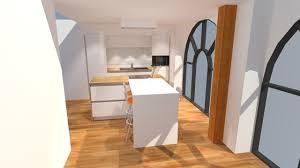 stratifié pour cuisine cuisine blanc brillant avec îlot plan de travail bois